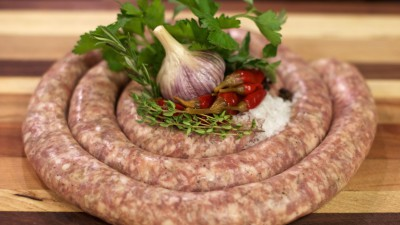 Raw Sausage rope with garlic and red chili
